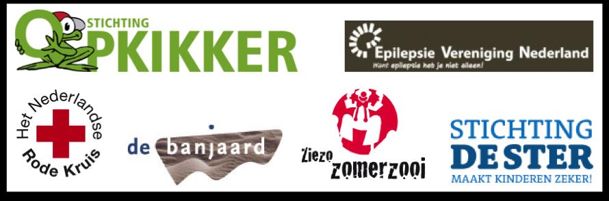 Het Rode Kruis, Stichting Opkikker, De Jonge Mantelzorgers, De Banjaard en Stichting De Ster en de Nederlanse Epilepsie Vereniging