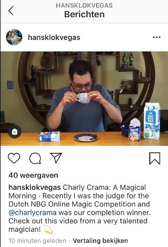 Online Goochelen - Hans Klok op Instagram